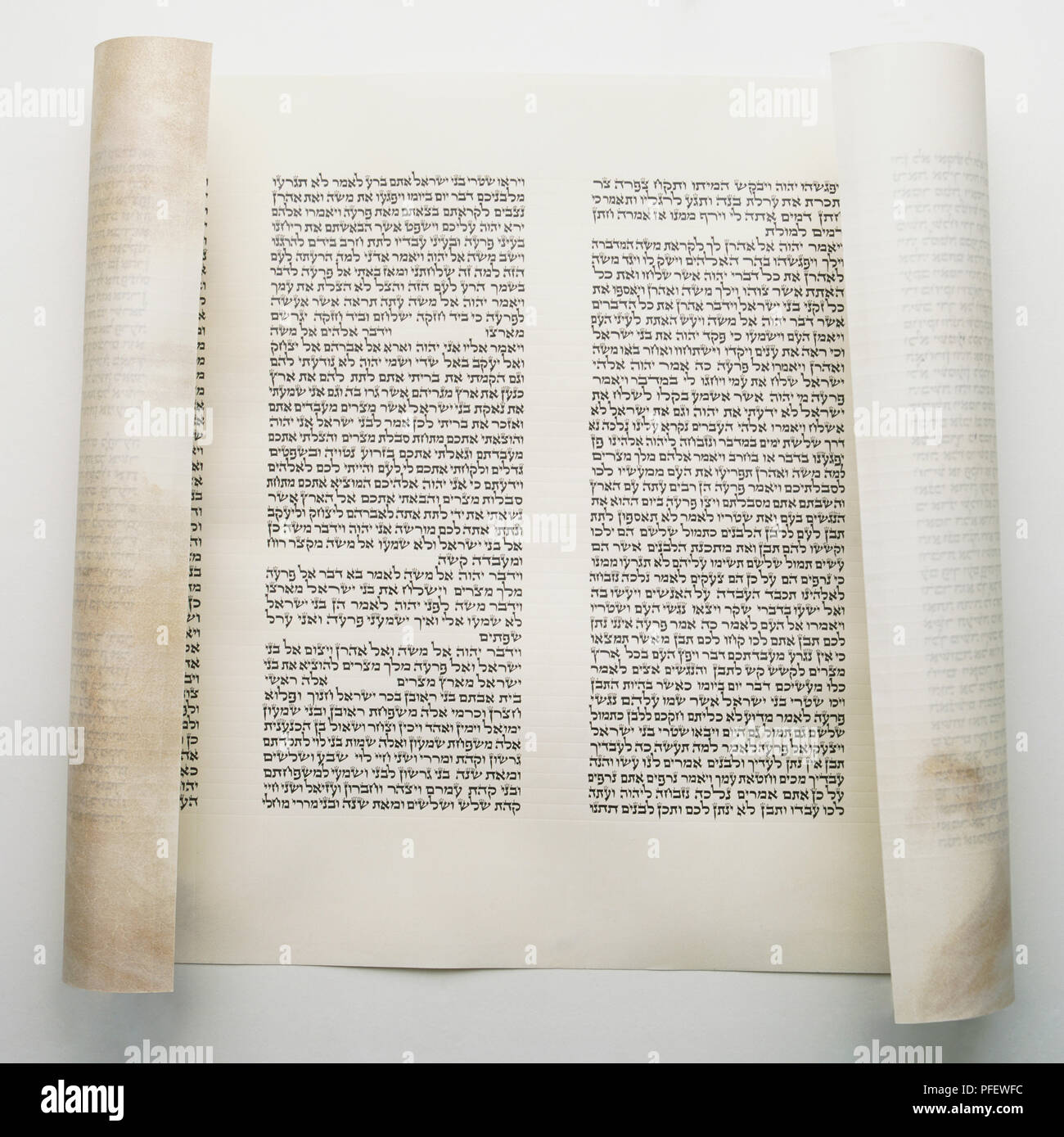 Torah scroll, printed Hebrew script from the Old Testament Pentateuch. - Stock Image