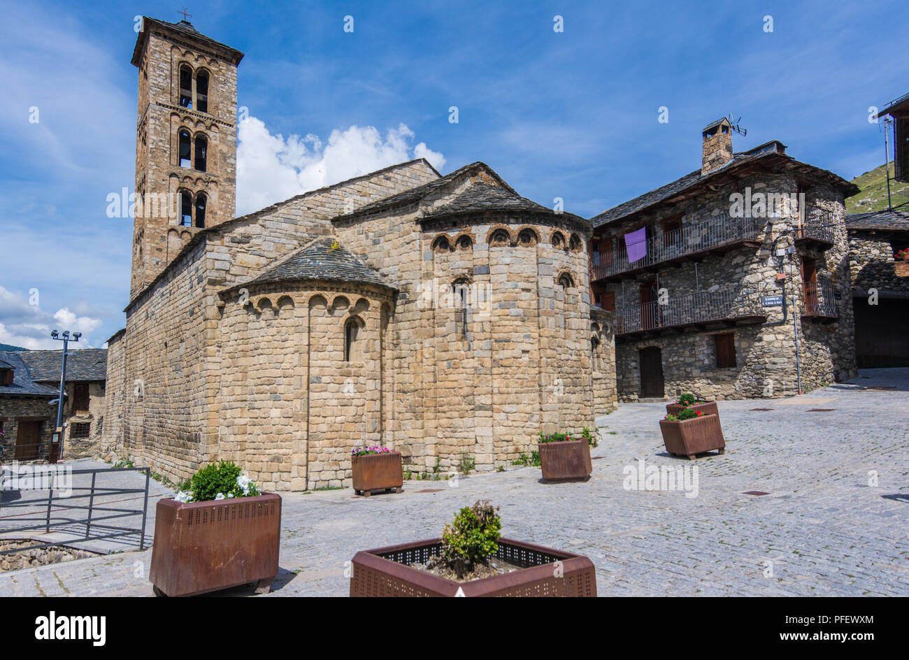 Belfry and church of Santa Maria de Taull, Catalonia, Spain. Catalan Romanesque Churches of the Vall de Boi are declared a UNESCO World Heritage Site  - Stock Image