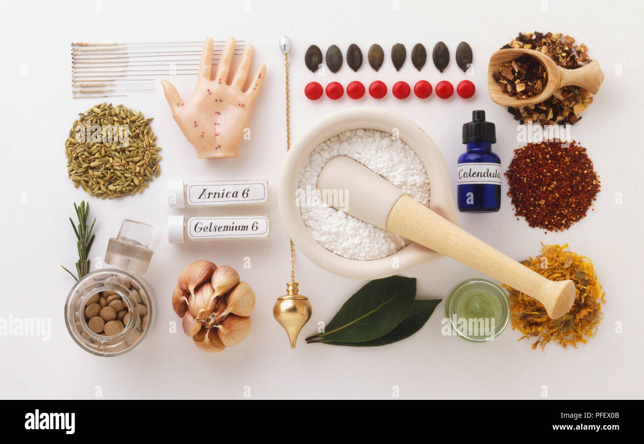 Large Selection Of Drugs And Natural Remedies Used In Complementary Medicine View From Above