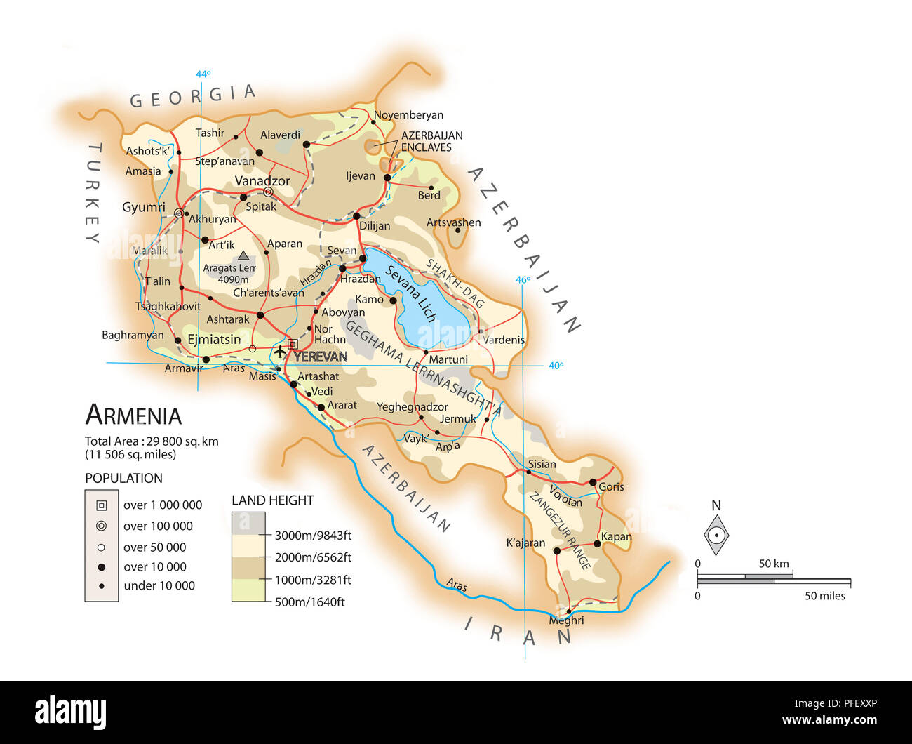 Map of Armenia Stock Photo