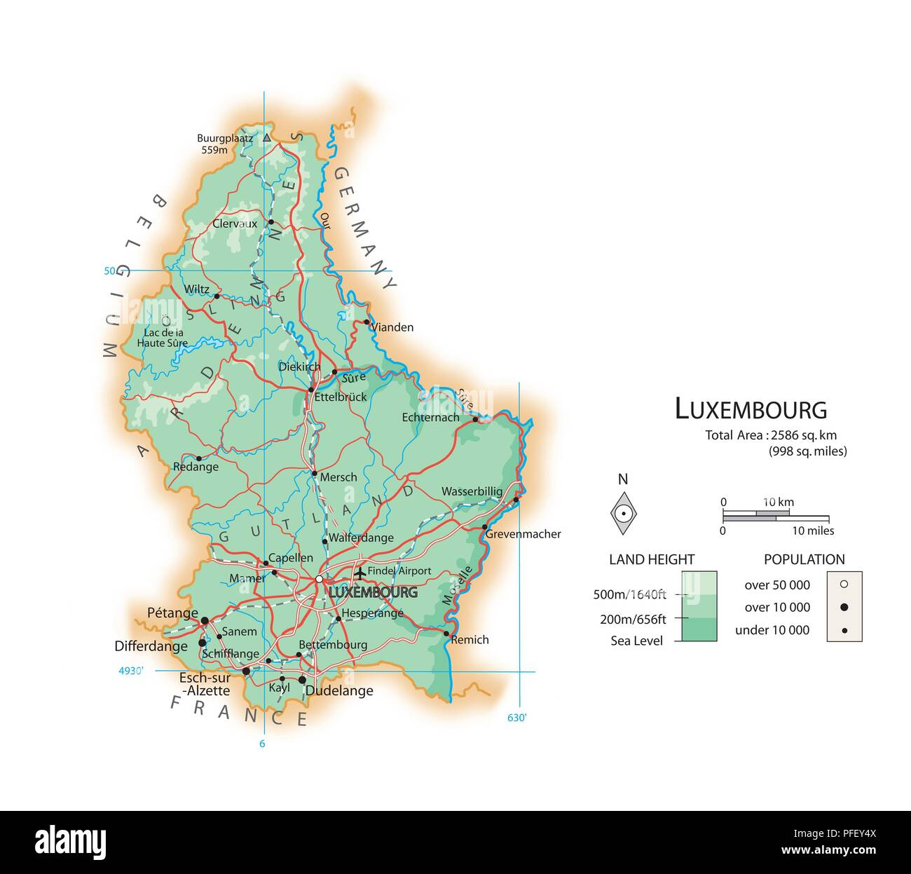 Map of Luxembourg Stock Photo: 216072890 - Alamy