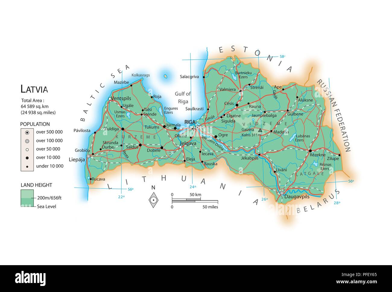 Map of Latvia Stock Photo