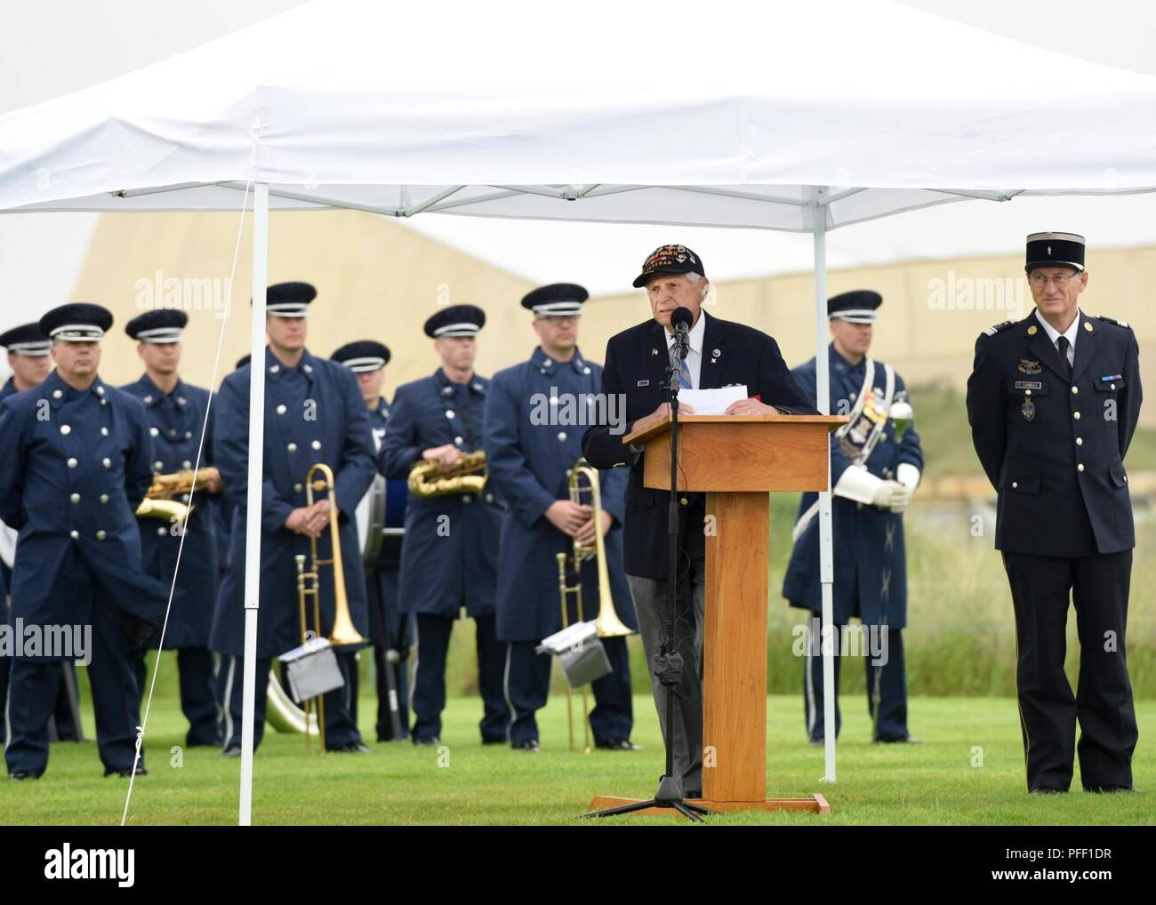 SAINTE-MARIE-DU-MONT, France (June 6, 2018) D-Day veteran Steve Melnikof speaks during the Utah Beach Federal Monument Ceremony. This year marks the 74th anniversary of Operation Overlord, the Allied invasion of Normandy on June 6, 1944 -- most commonly known as D-Day. An epic multinational amphibious and airborne operation, D-Day forged partnerships and reinforced transatlantic bonds that remain strong today. Overall, U.S. service members from 20 units in Europe and the U.S. participated in events and ceremonies May 30-June 7, 2018, in almost 40 locations throughout the Normandy region of Fra Stock Photo
