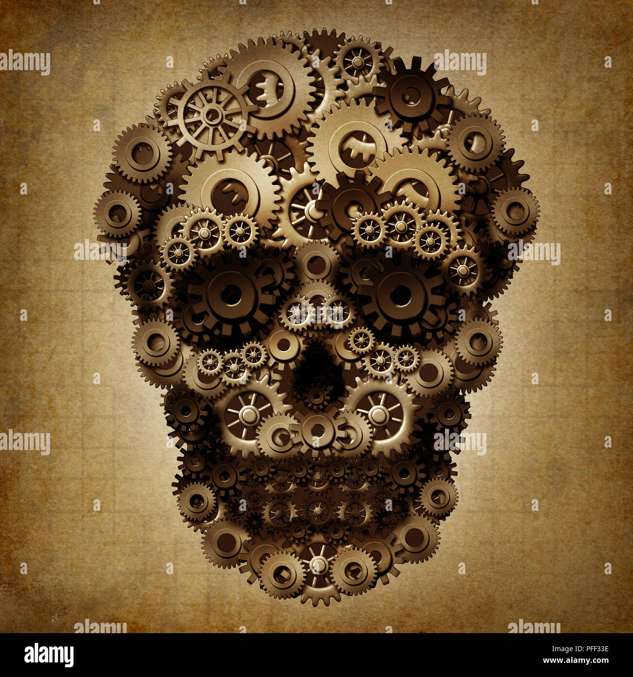 Skull gear grunge as a group of cog wheels shaped as a steampunk or steam punk death skeleton as a vintage technology danger symbol. - Stock Image
