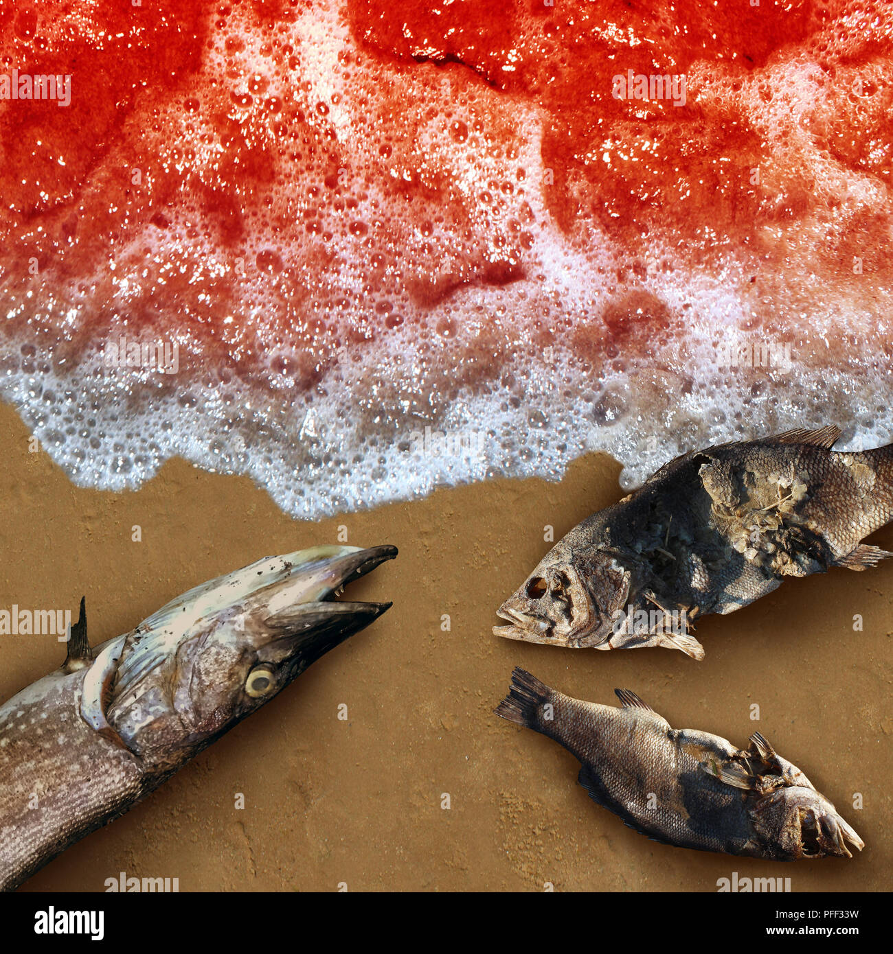 Red tide algae deadly natural toxin found in the ocean or sea as a marine life death concept as a conceptual in a 3D illustration style. - Stock Image