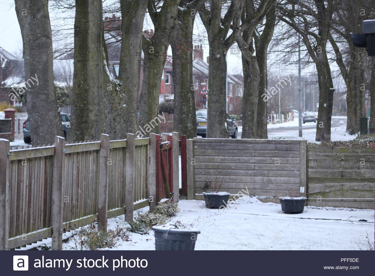 A snowy day in Irlam - Stock Image