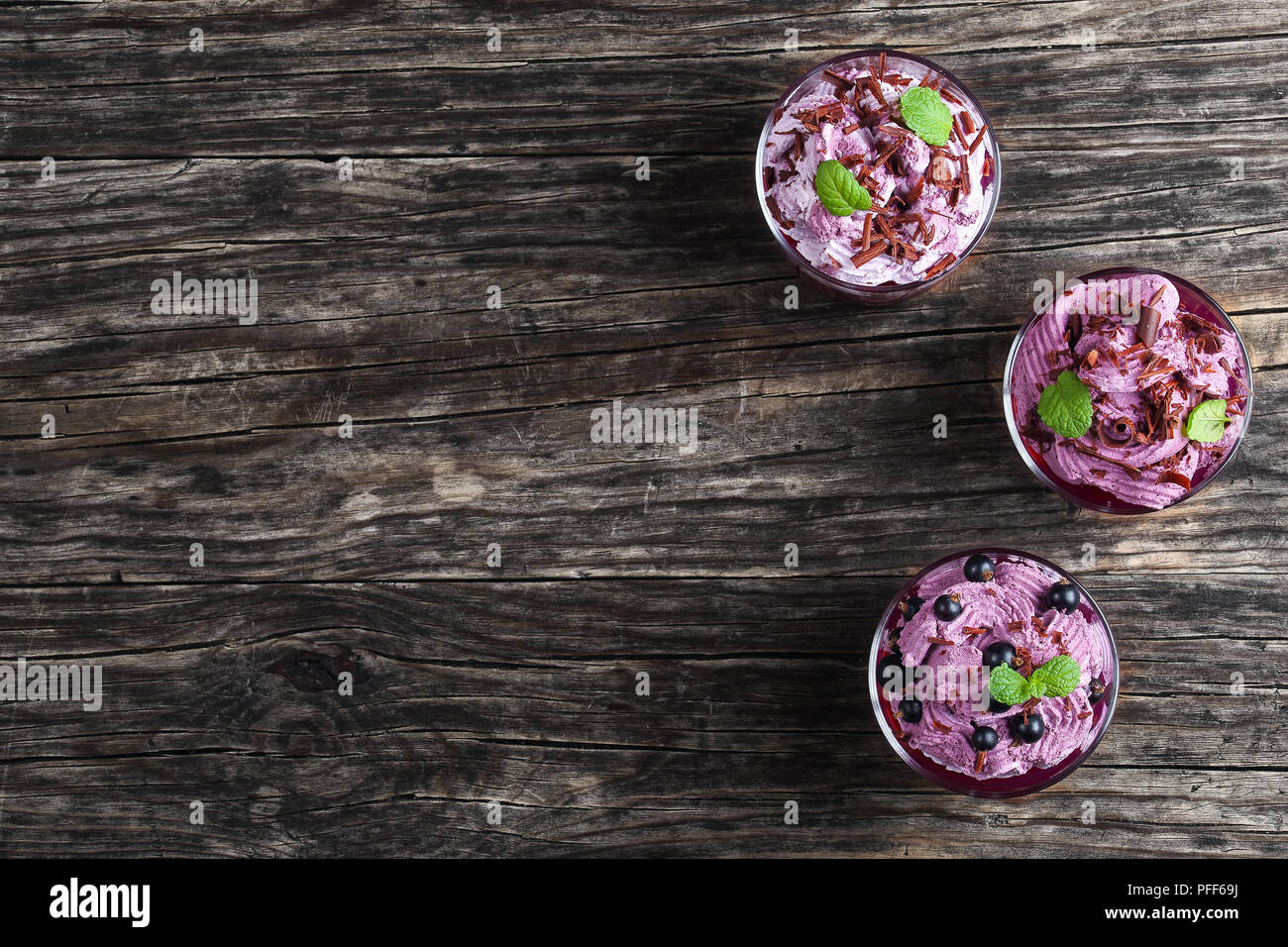 summer dessert of blackcurrant and Frozen ricotta Yogurt mousse sprinkled with finely chopped chocolate chips decorated with mint leaves in glass cups - Stock Image