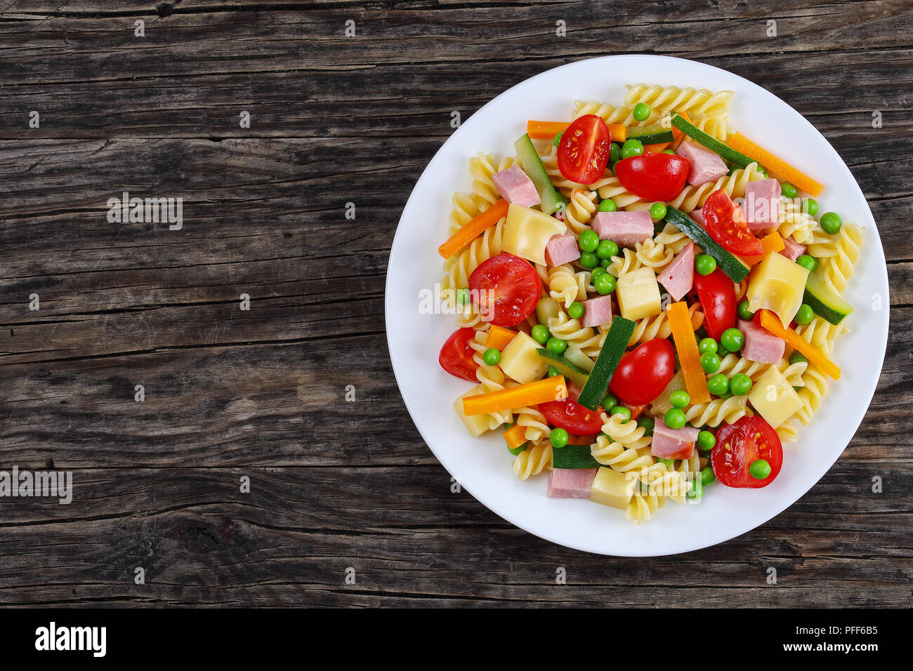 Delicious Cold Summer Salad Fusilli Pasta With Carrot And