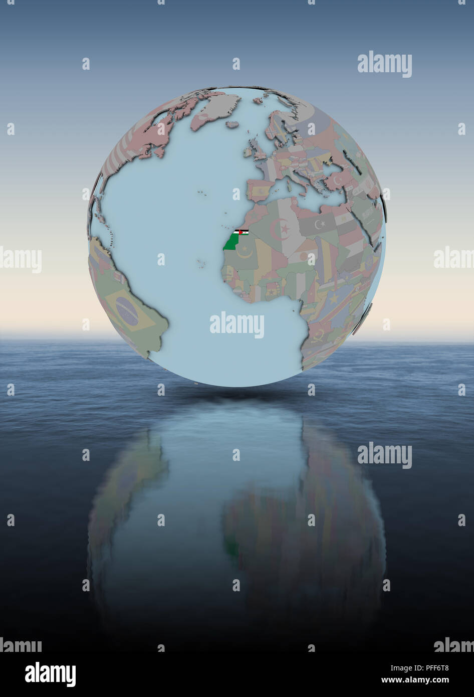 Western Sahara with national flag on globe above water surface. 3D illustration. - Stock Image