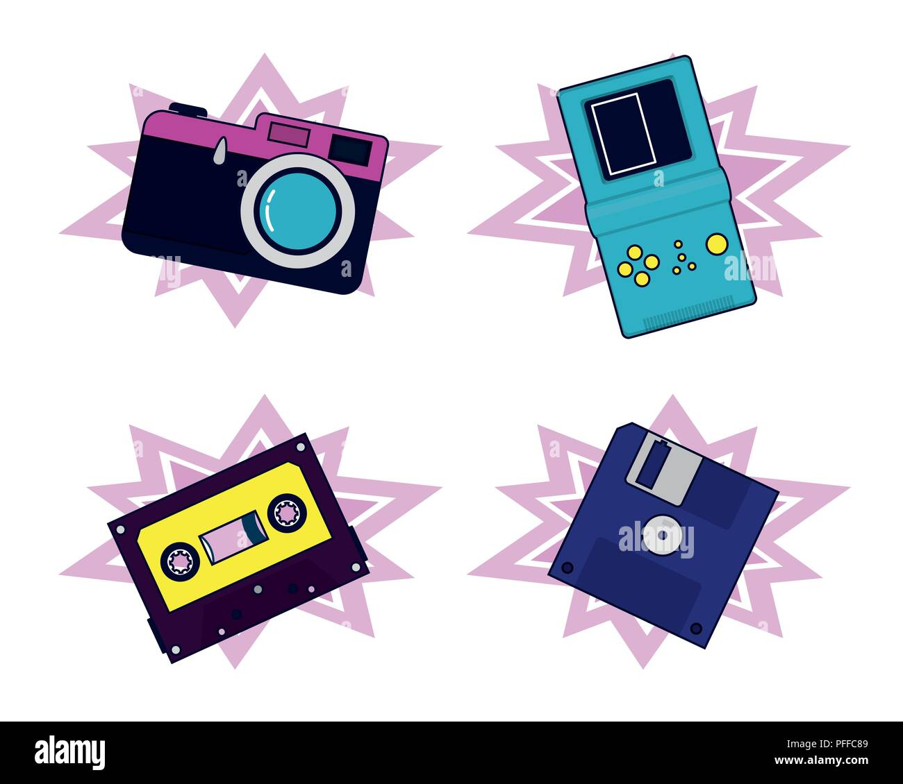 Set of 90s elements and technology Stock Vector