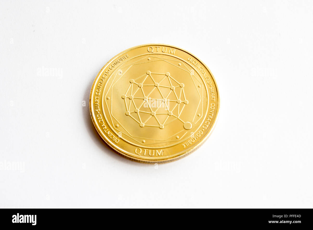 On a white background is isolated gold coin of a digital