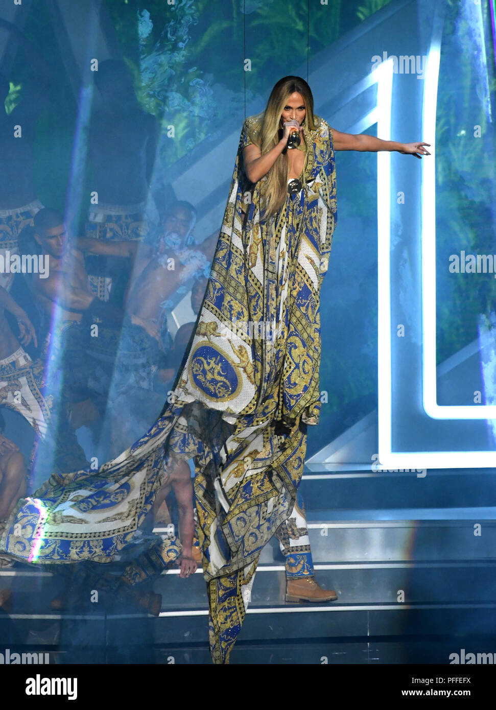 Jennifer Lopez performs on stage at the 2018 MTV Video Music Awards ...