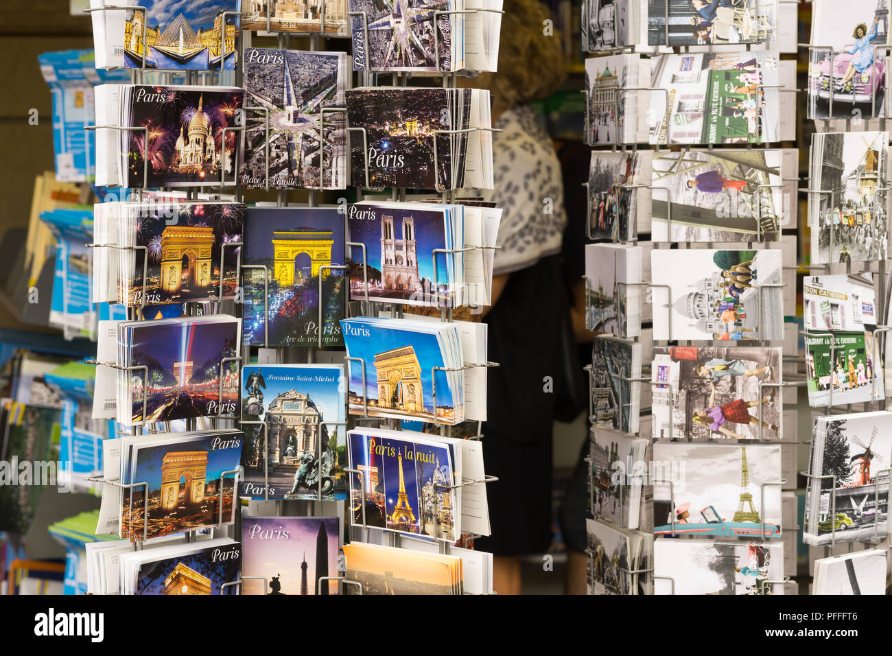 Postcards of Paris sold on the street. France. - Stock Image