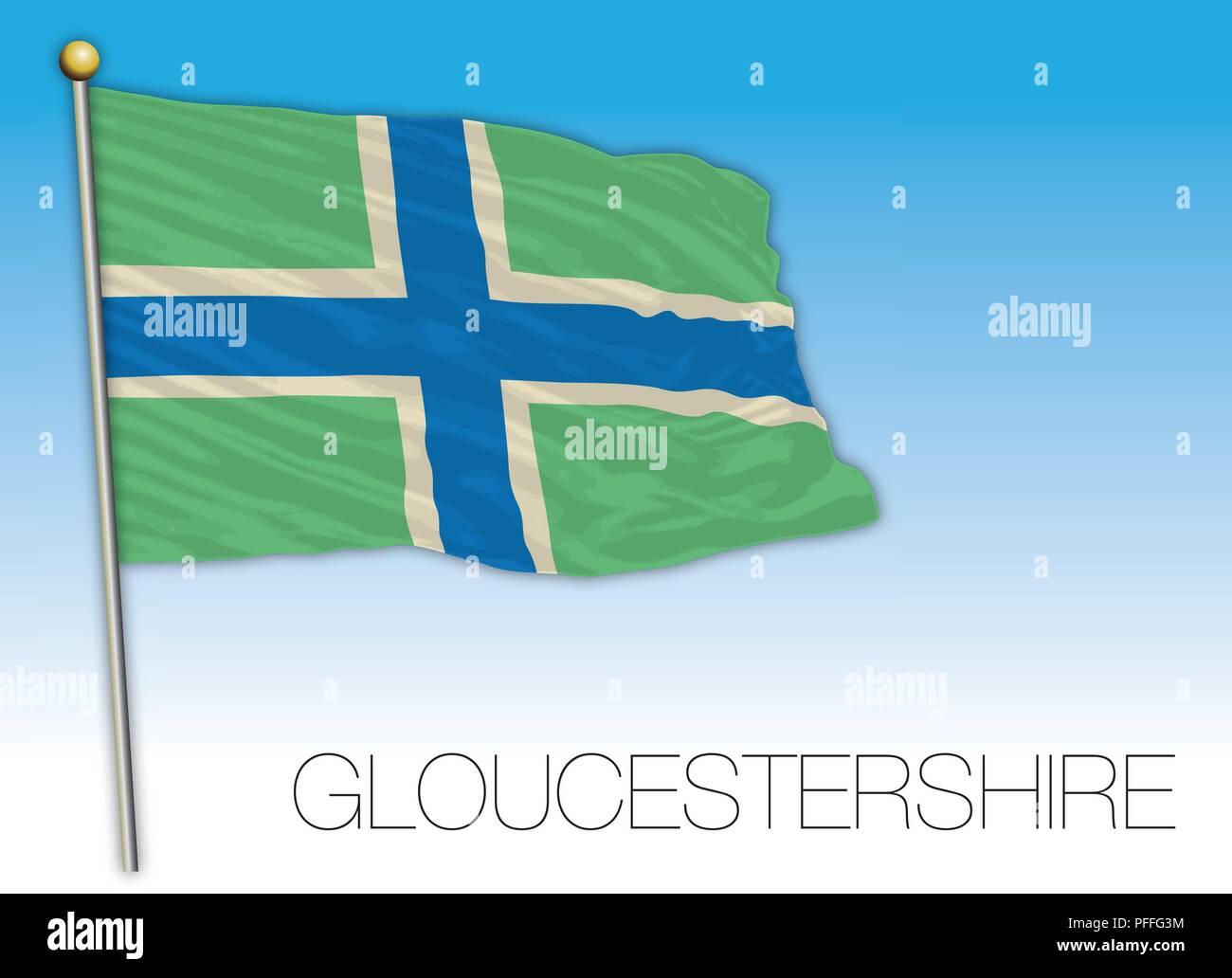 Gloucestershire flag, United Kingdom, vector illustration - Stock Vector
