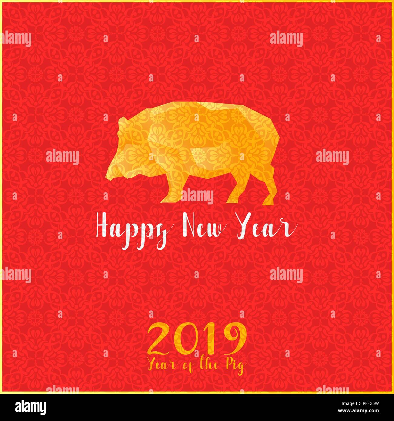 Greeting Card Happy New Chinese Year 2019 Year Of The Pig