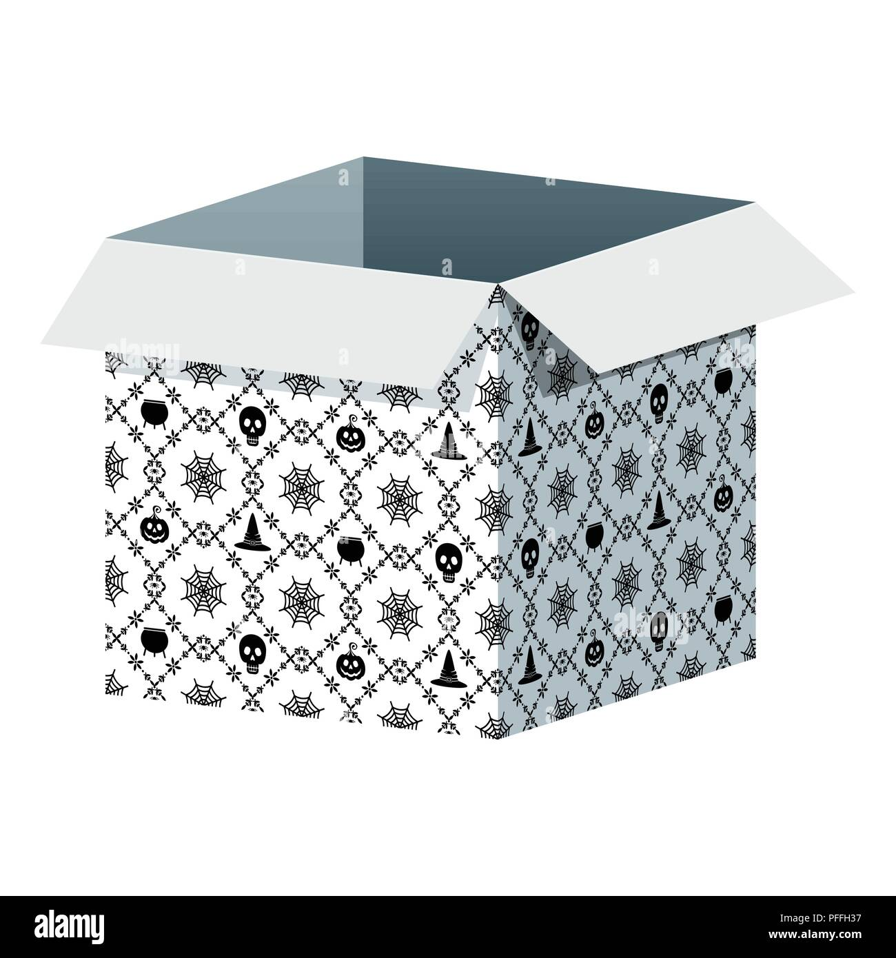 Big Open Box Template With Halloween Pattern