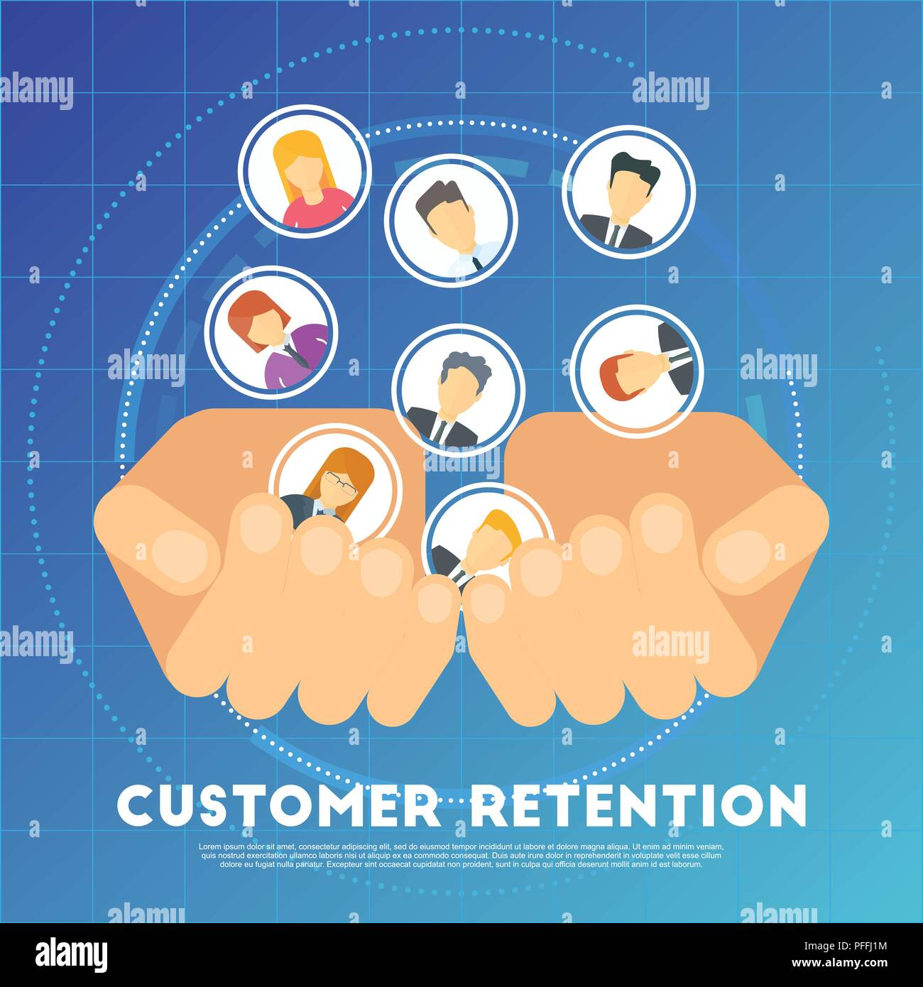 Customer retention concept. Marketing strategy of the company - Stock Image