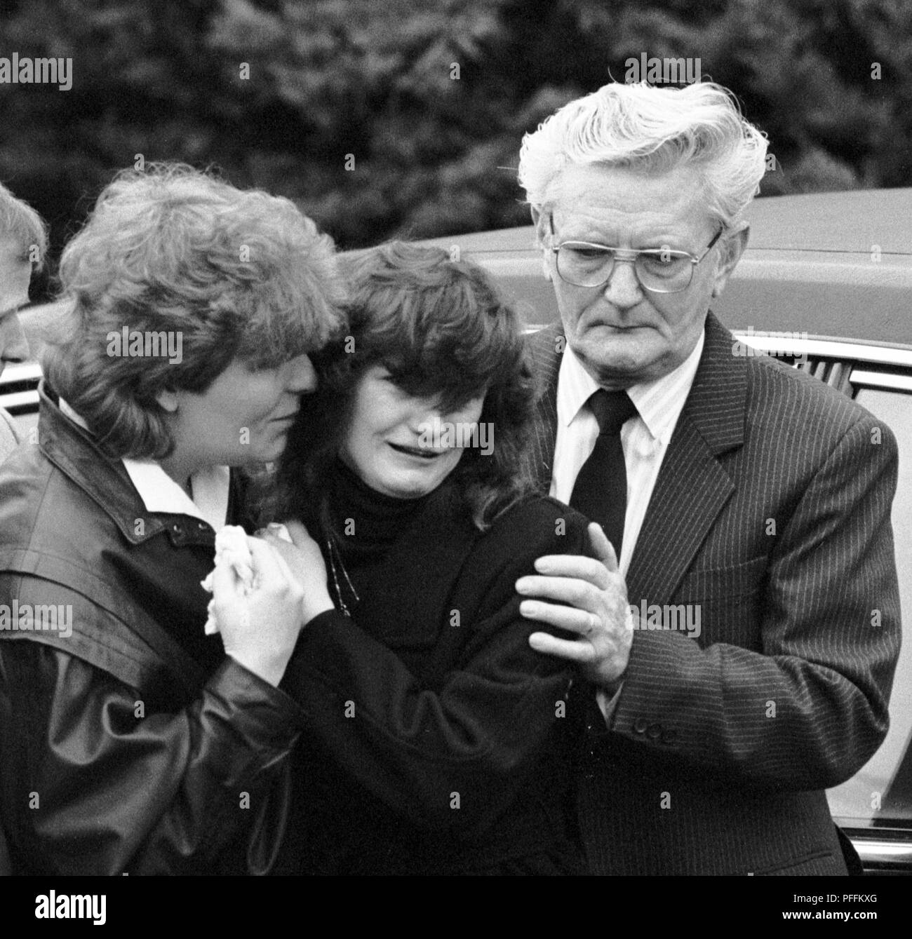 Grief-stricken mourners at the funeral of murdered Brighton schoolgirls, Nicola Fellows and Karen Hadaway, at the church of St Andrews on the Moulsecoomb Estate where the girls lived. - Stock Image