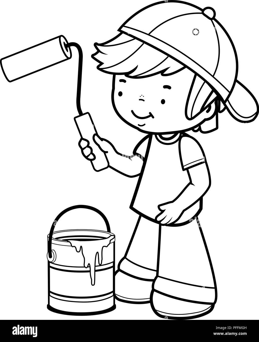 Boy Painting With A Paint Roller And A Paint Bucket Vector Black And White Illustration Stock Vector Image Art Alamy