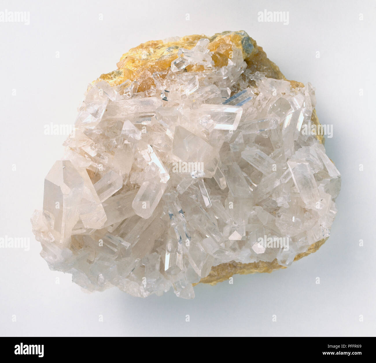 Celestine crystals in sulphur groundmass, close-up - Stock Image