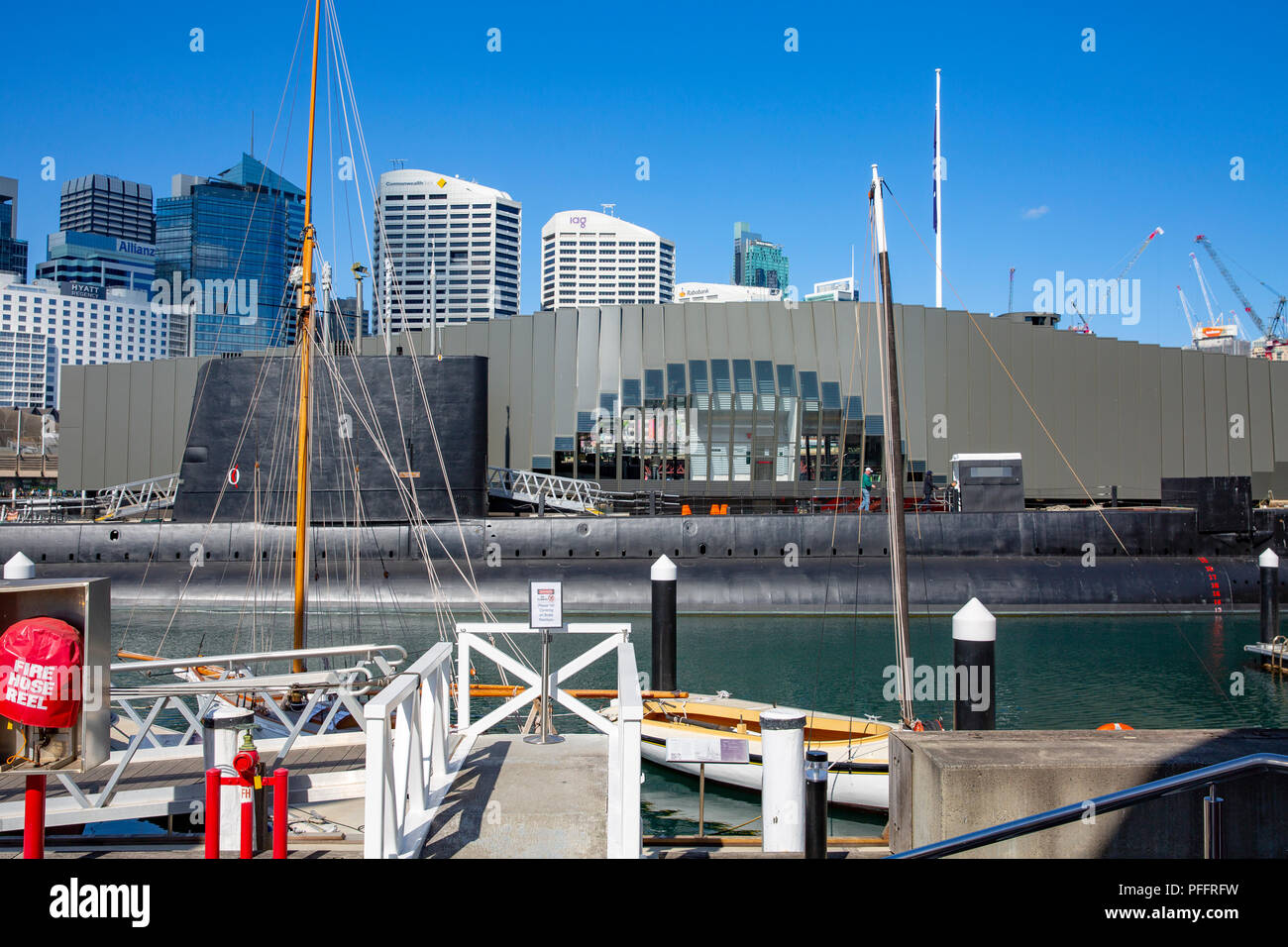 Submarine HMAS Onslow at the Australian national maritime museum in Darling Harbour,Sydney,Australia - Stock Image