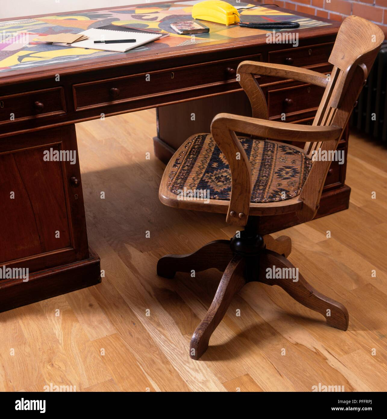 Antique Wooden Desk And Upholstered Office Chair Stock Photo Alamy