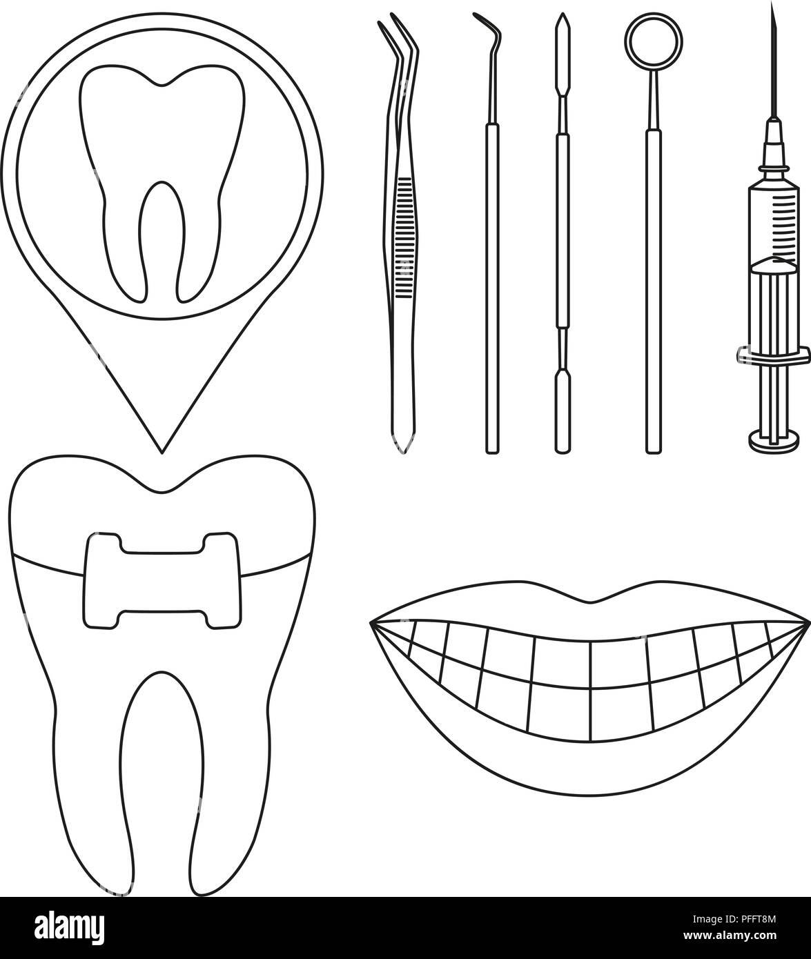 Line art black and white dental check set - Stock Vector