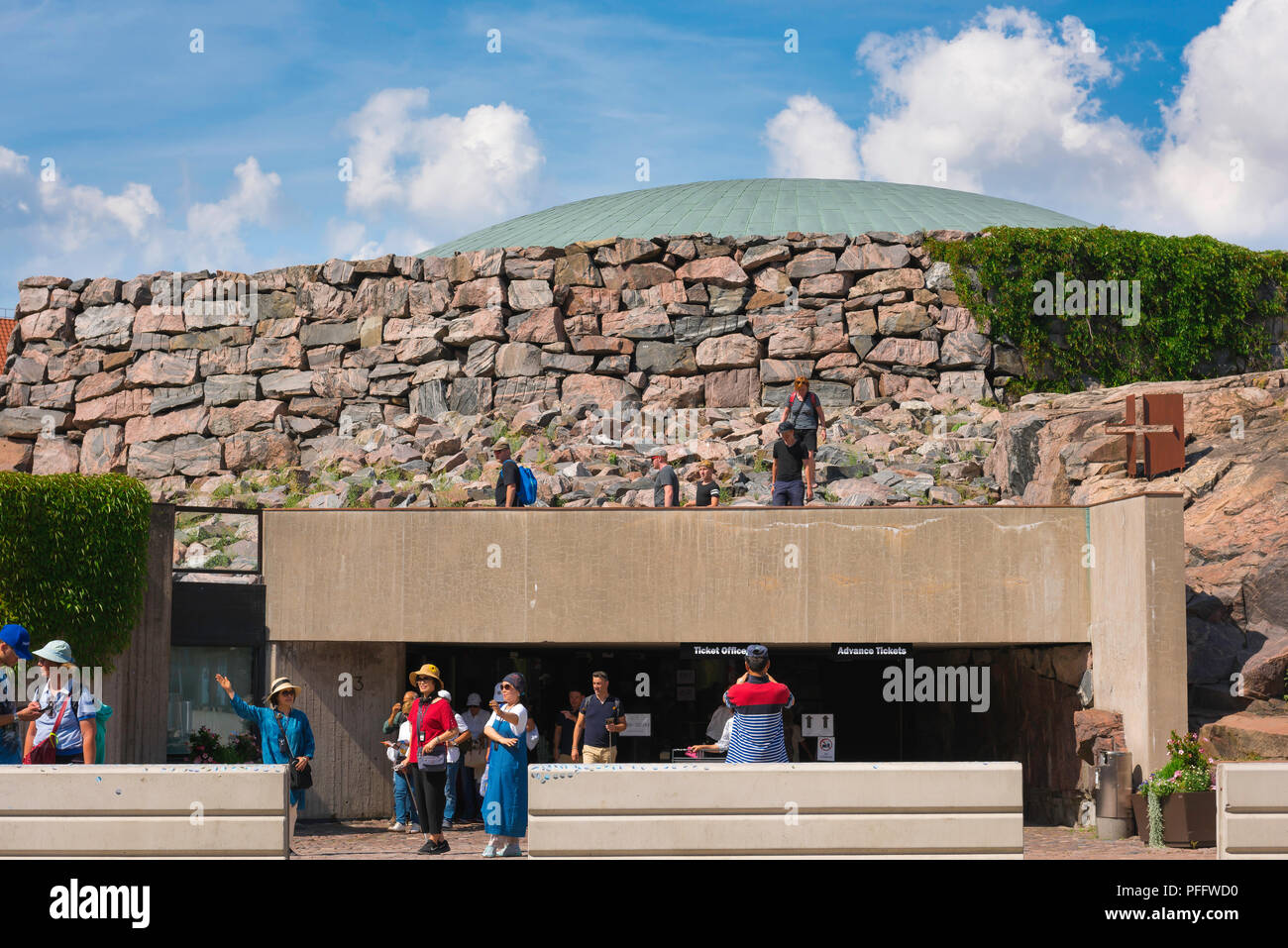Helsinki architecture Finland, view of the entrance to the Temppeliaukio Kirkko, a church built into solid rock in the centre of Helsinki, Finland. - Stock Image