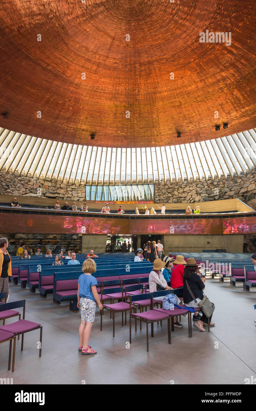 Temppeliaukio Church, view inside the Temppeliaukion Kirkko or 'Rock Church' in central Helsinki showing its huge 24m-diameter copper roof, Finland - Stock Image