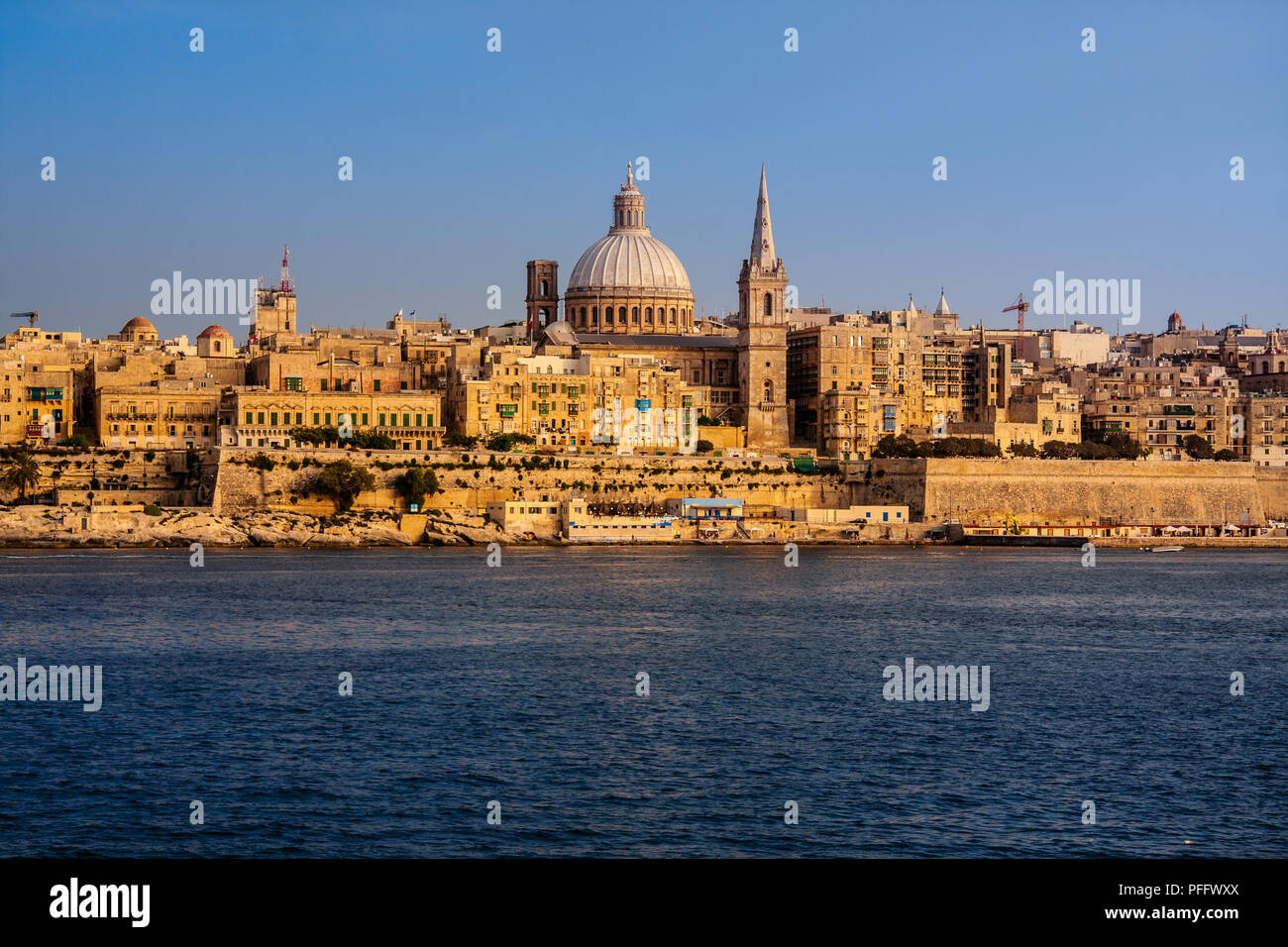 Panoramic view of the ancient capital Valletta, Malta - Stock Image