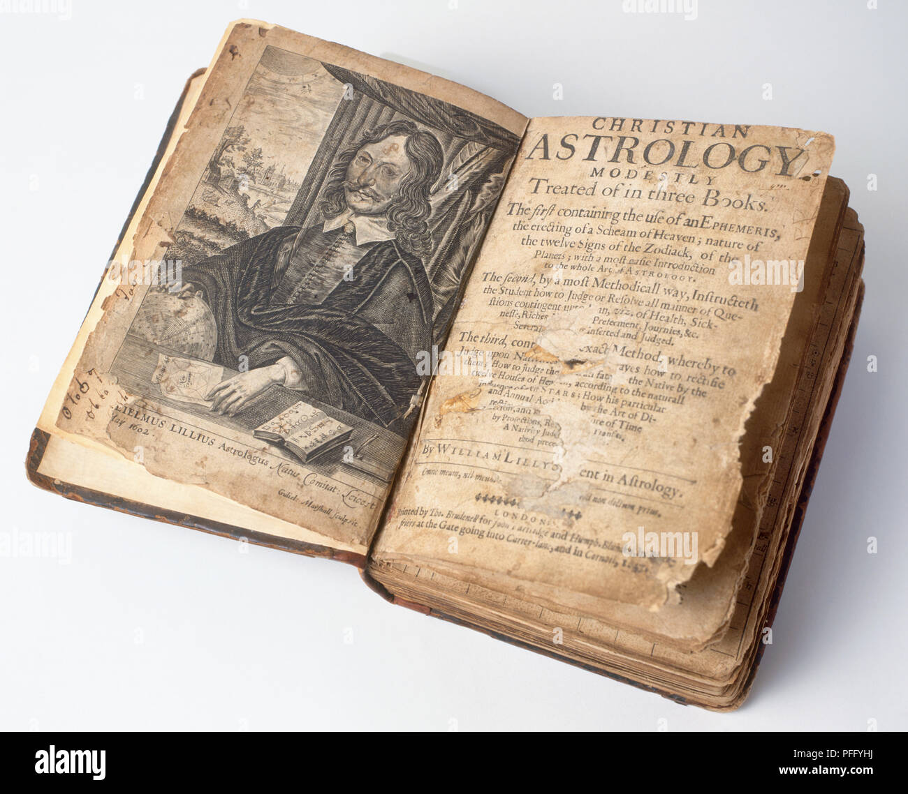 Horary astrology book lying open, 17th century - Stock Image