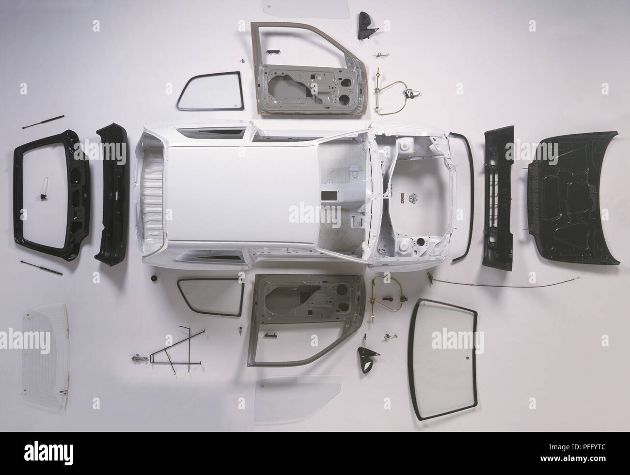 Above view of the bodywork of a small car. - Stock Image