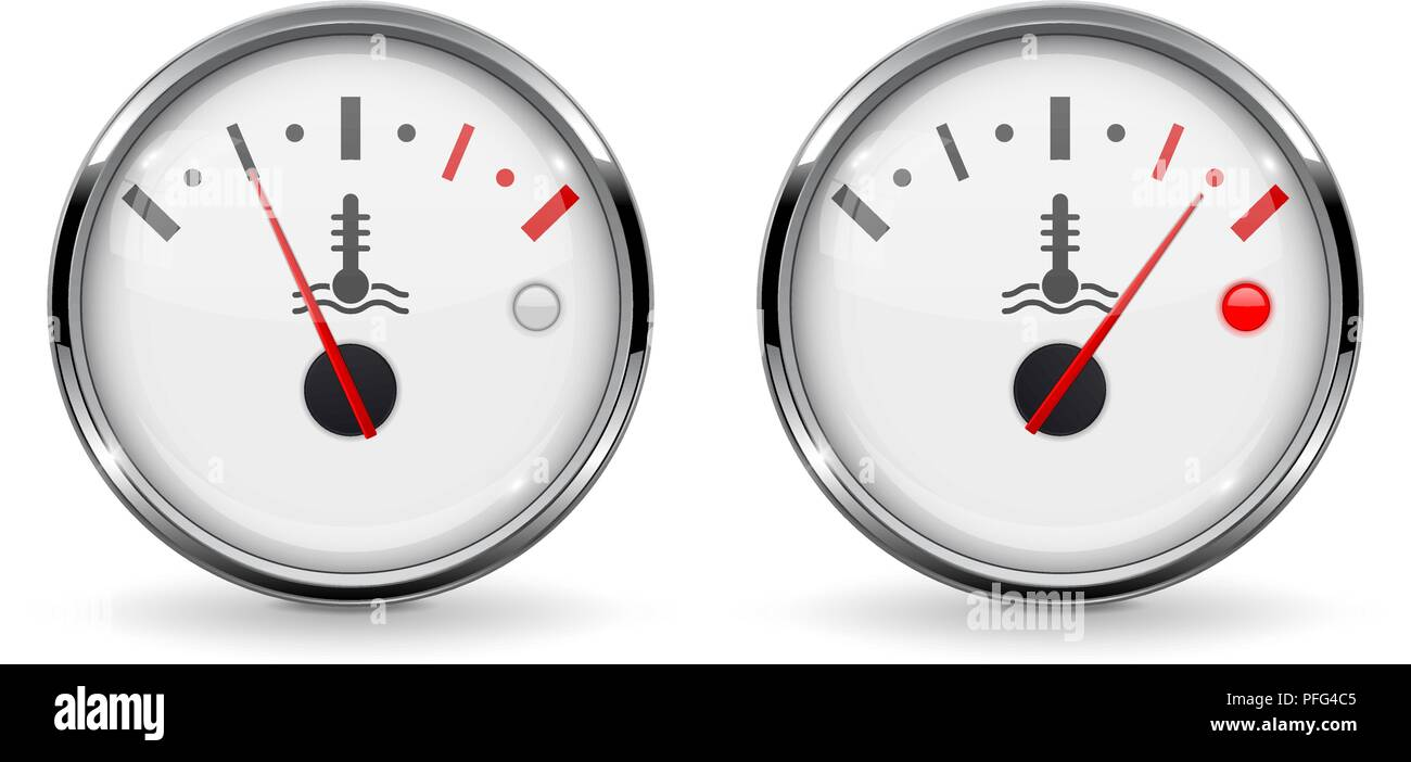 Temperature car gauges. Low and high temperature. Devices with chrome frame - Stock Image