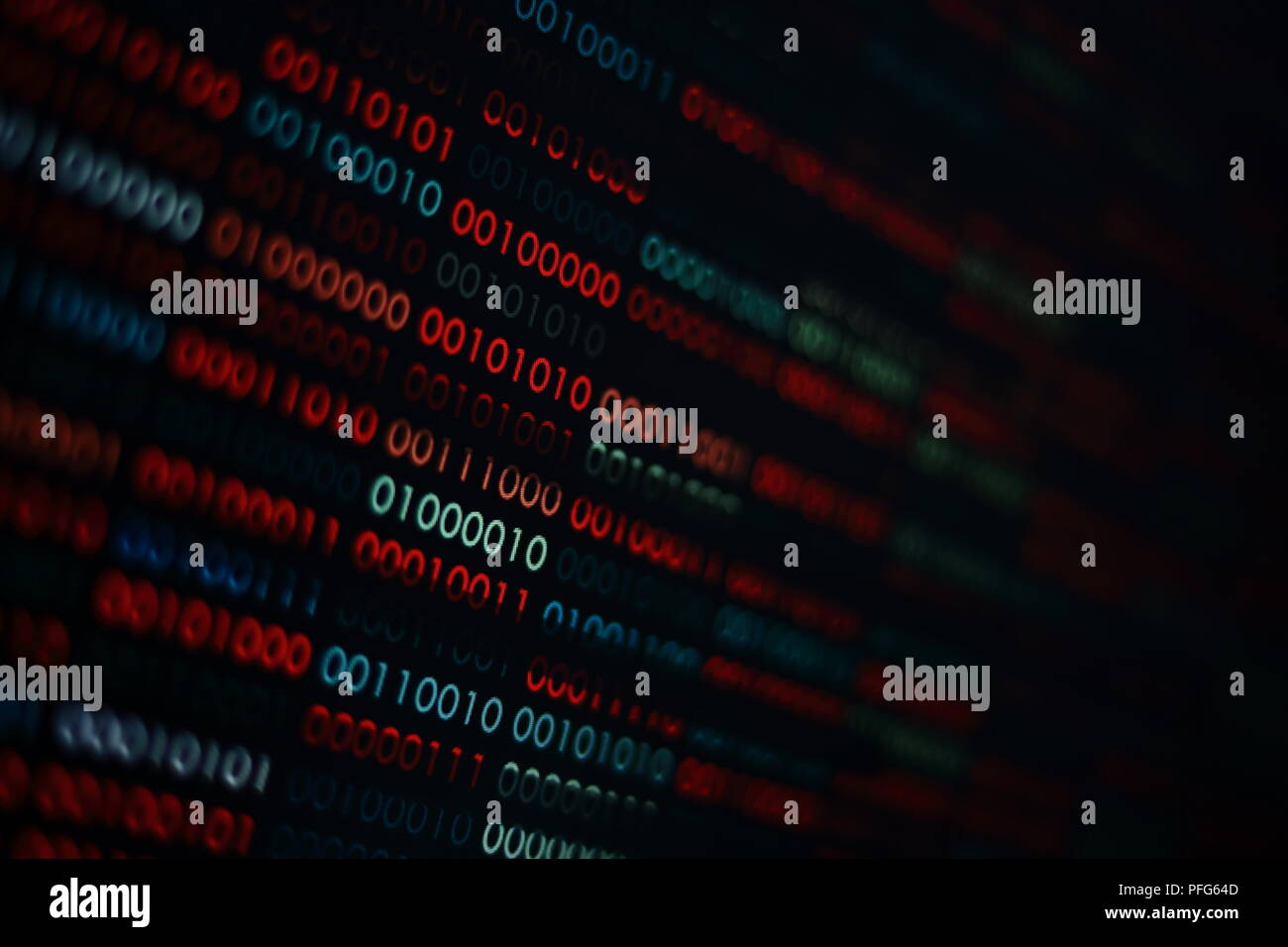 the right data. binary data background. focus on the white complete data amidst corrupted error red and blue binary bits. information codding problem Stock Photo