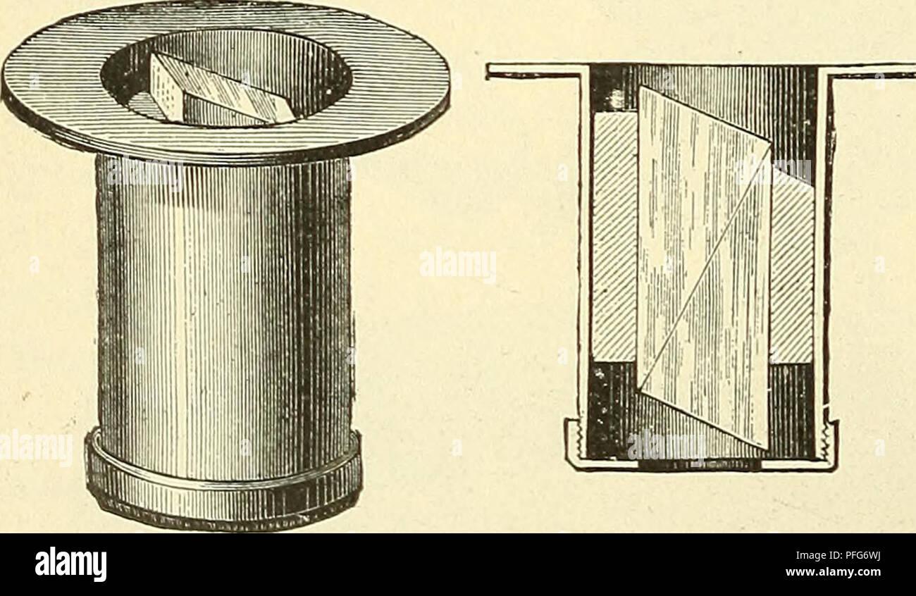 . Das Mikroskop. Ein Leitfaden der wissenschaftlichen Mikroskopie. Microscopy; Microscopes. 162 § 151). Bei einem derartigen Mikroskope wird natürlich bei einer Drehung* ausser dem Objecte gleichzeitig auch die Orientierung des auf dem 0ciliar befindlichen Analysators geändert. Es wurde übrigens von Y. v. Ebner (I, 161) ein Halter construiert, der an dem Fuss des Mikroskops befestigt wird und den oberhalb des Oculars befindlichen Analysator derartig festhält, dass eine Drehung desselben beim Drehen des Tubus verhindert wird. Die Anwendung dieses Apparates macht allerdings ein Centrieren ganz ü - Stock Image