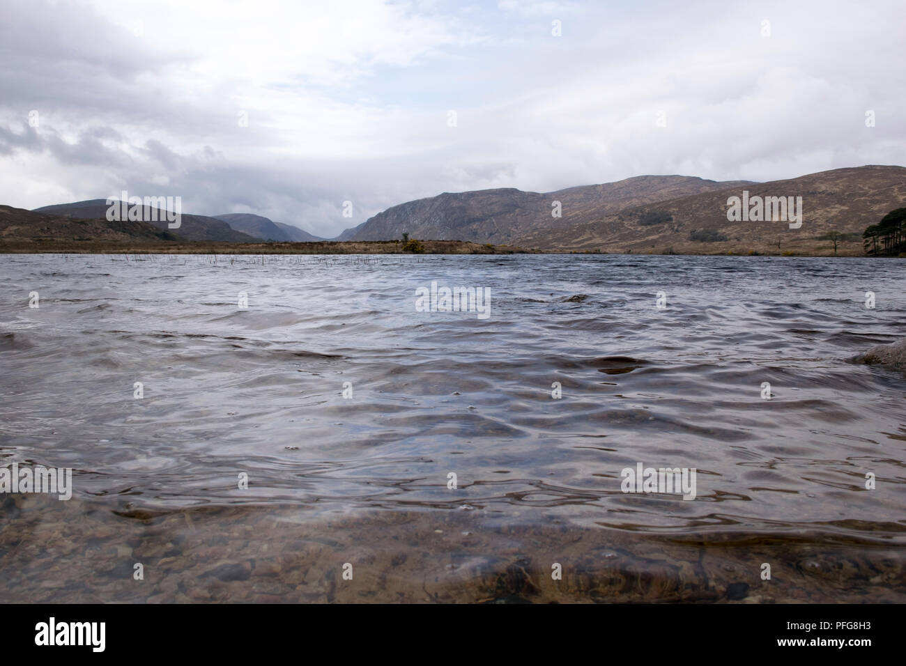 a shot of a lake in an irish landscape in county Donegal, ireland - Stock Image