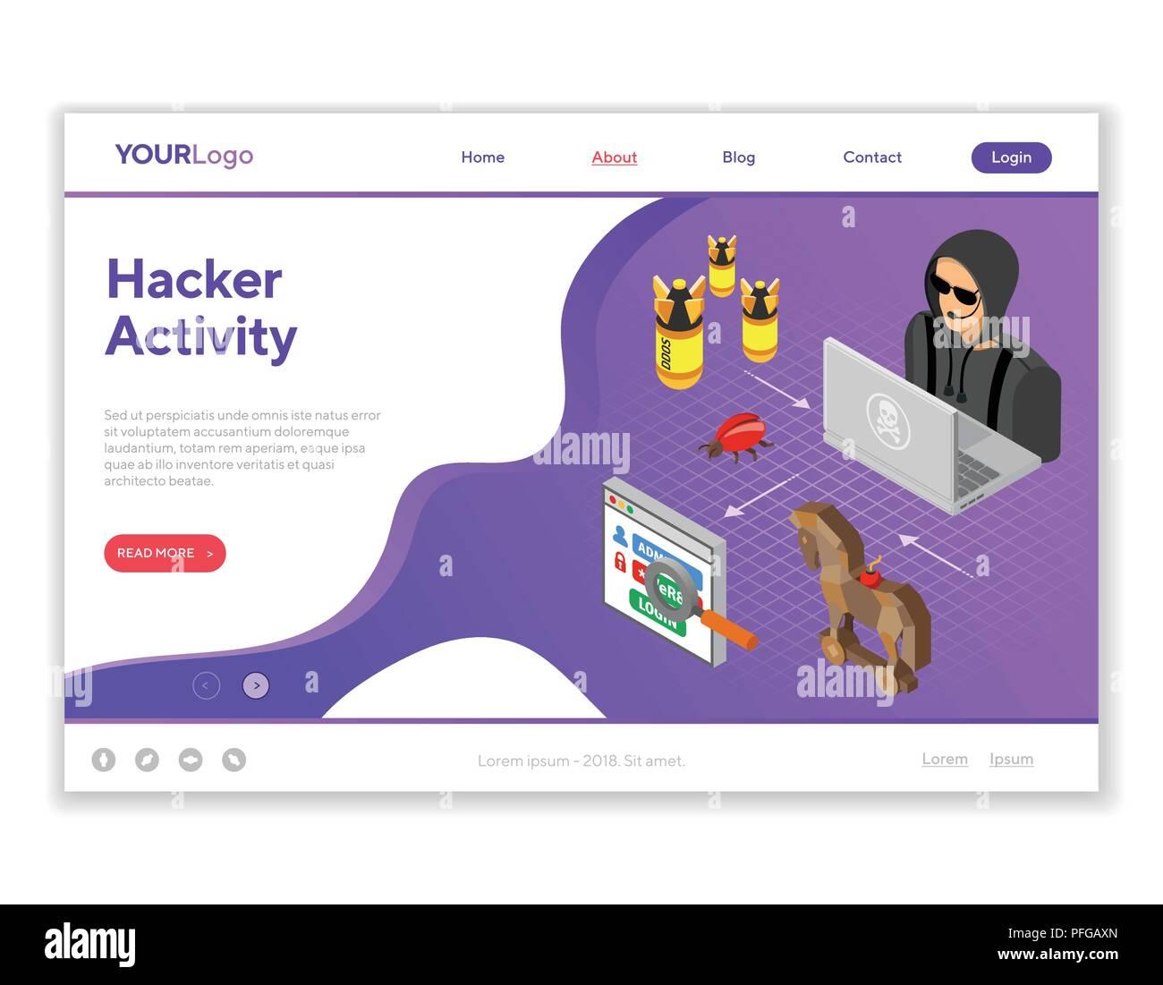 Hacker Activity Concept Isometric - Stock Image