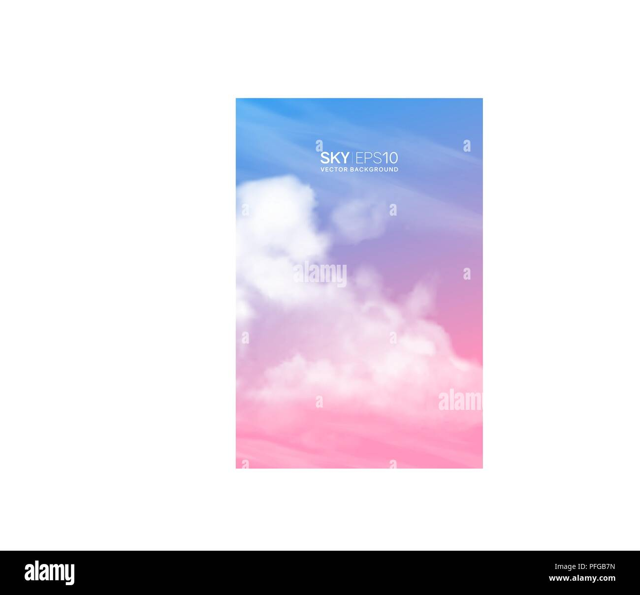 Vertical vector background with realistic pink-blue sky and clouds. - Stock Image