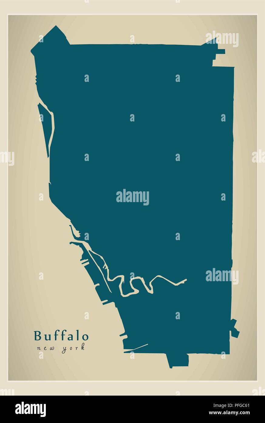 Modern City Map Buffalo New York City Of The Usa Stock Vector Art