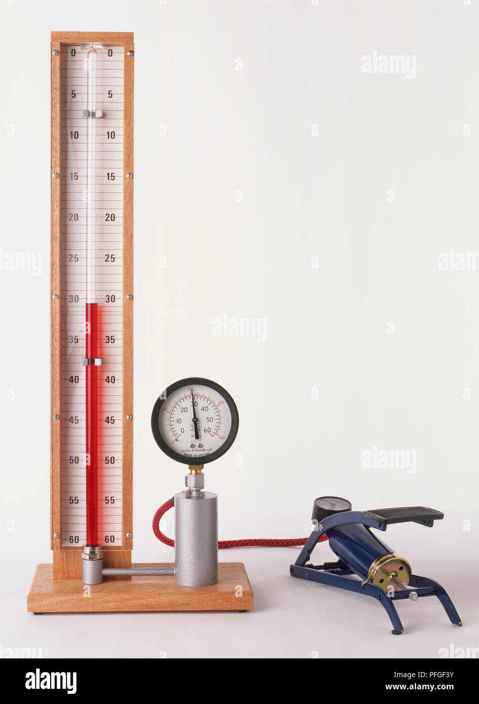 Apparatus to measure pressure with foot pump showing Boyle's Law, the volume of mass of gas at a fixed temperature will change in relation to the pressure. - Stock Image