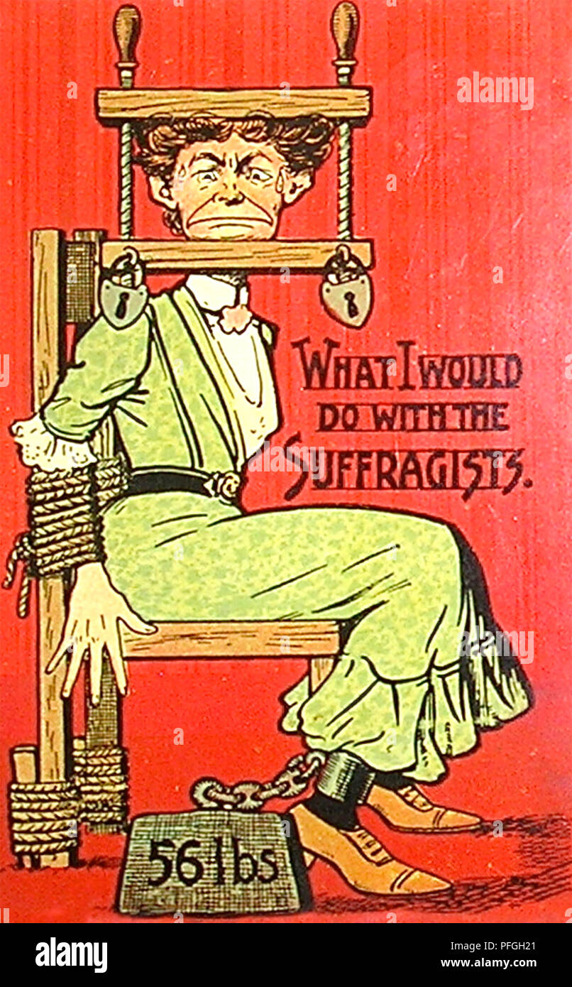 AMERICAN ANTI-SUFFRAGETTE CARTOON about 1908 - Stock Image