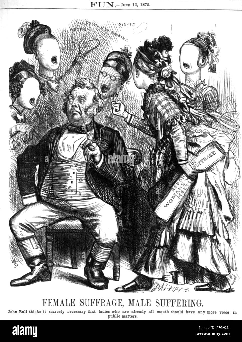 ANTI-SUFFRAGE CARTOON from the British magazine Fun, 12 June 1875 - Stock Image