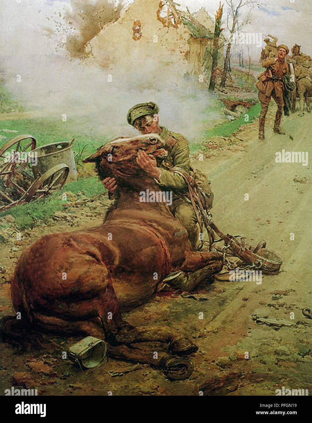 GOODBYE,OLD FRIEND Painting by Fortunino Matania of British Cavalryman with his dying horse. Used by the Blue Cross League during WW1 Stock Photo