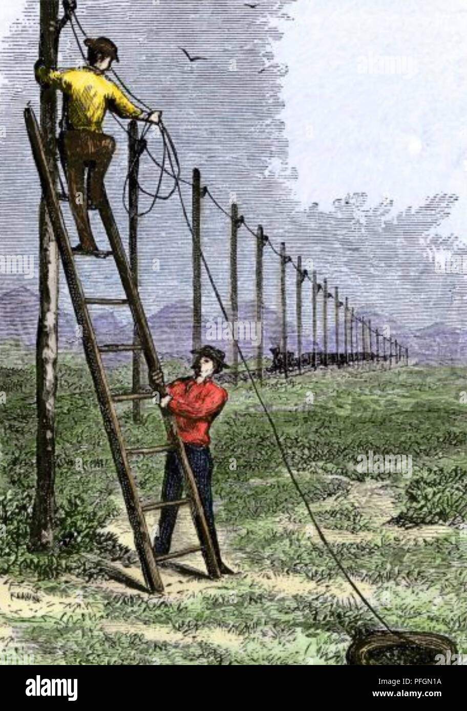 LINEMEN STRINGING TELEGRAPH WIRES along the Transcontinental railroad on the Great Plains of America in the 1860s as mandated in  the Pacific Railway Act of 1862 - Stock Image
