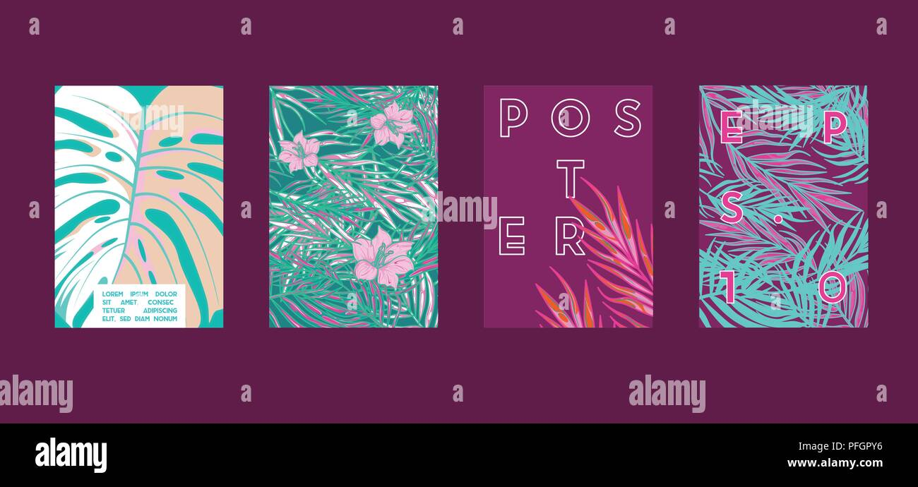 Poster With Tropical Flat Geometric Pattern Cool Colorful Backgrounds Applicable For Banners Placards Posters Flyers Vector Illustration Stock Vector Image Art Alamy