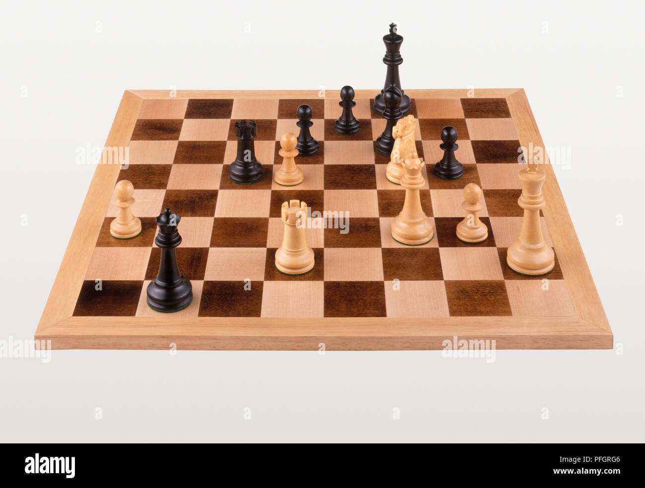 Chess match at endgame stage, close-up - Stock Image
