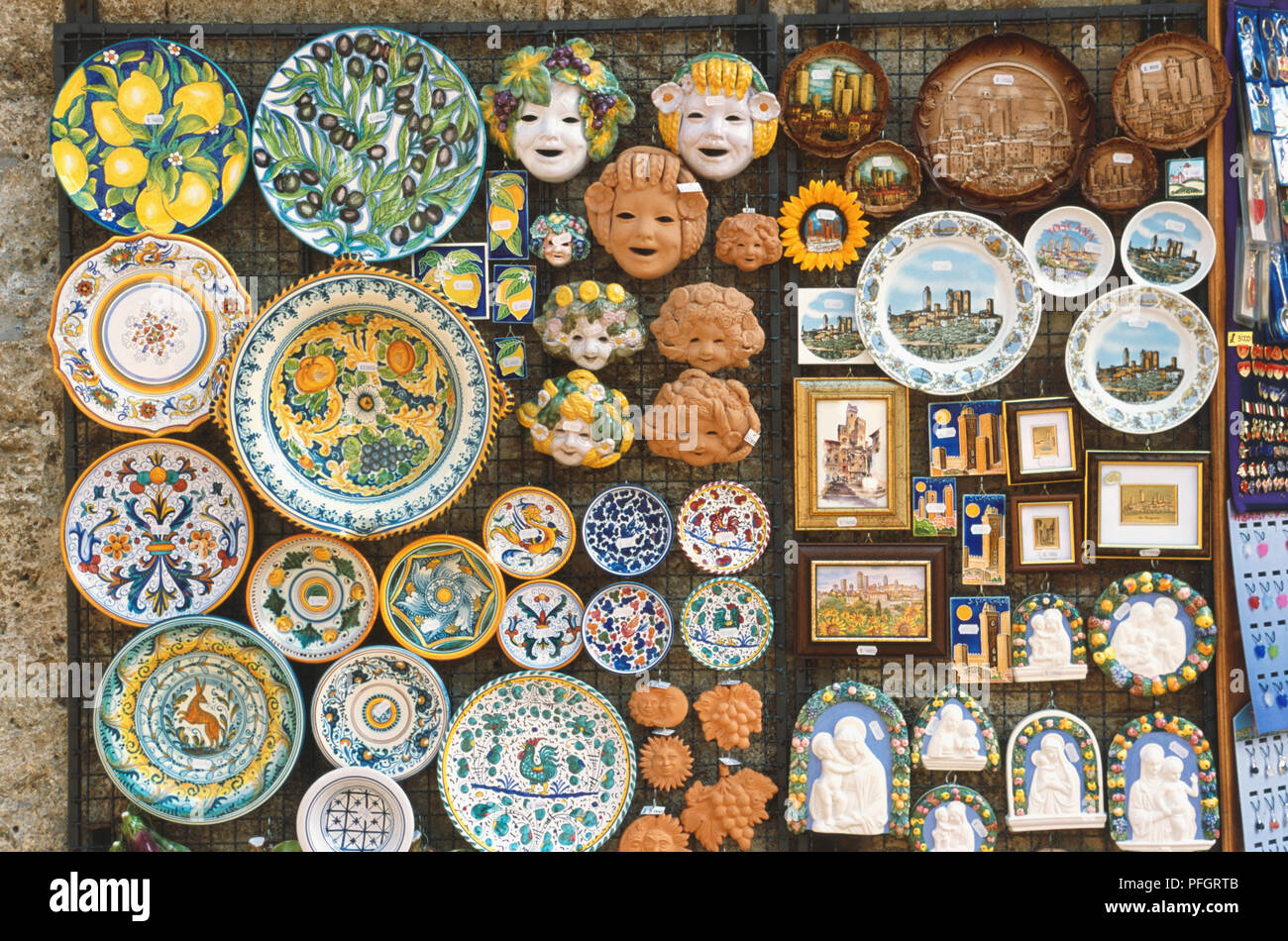 Italy, Tuscany, San Gimignano, Piazza della Cisterna, display of