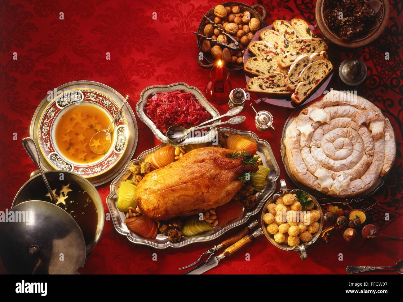 traditional german christmas dinner stock image