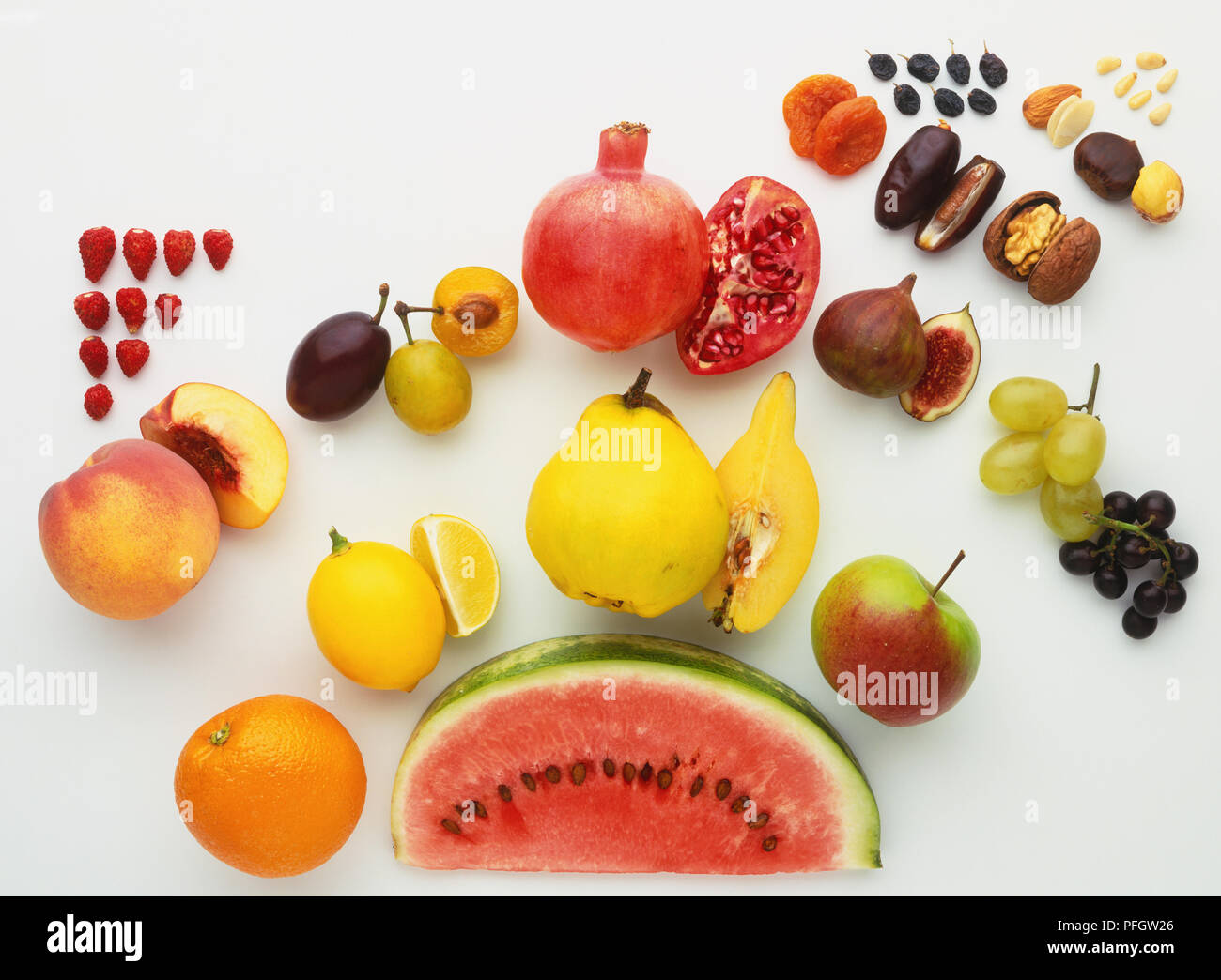 Colourful selection of fruits and nuts, close up. Stock Photo
