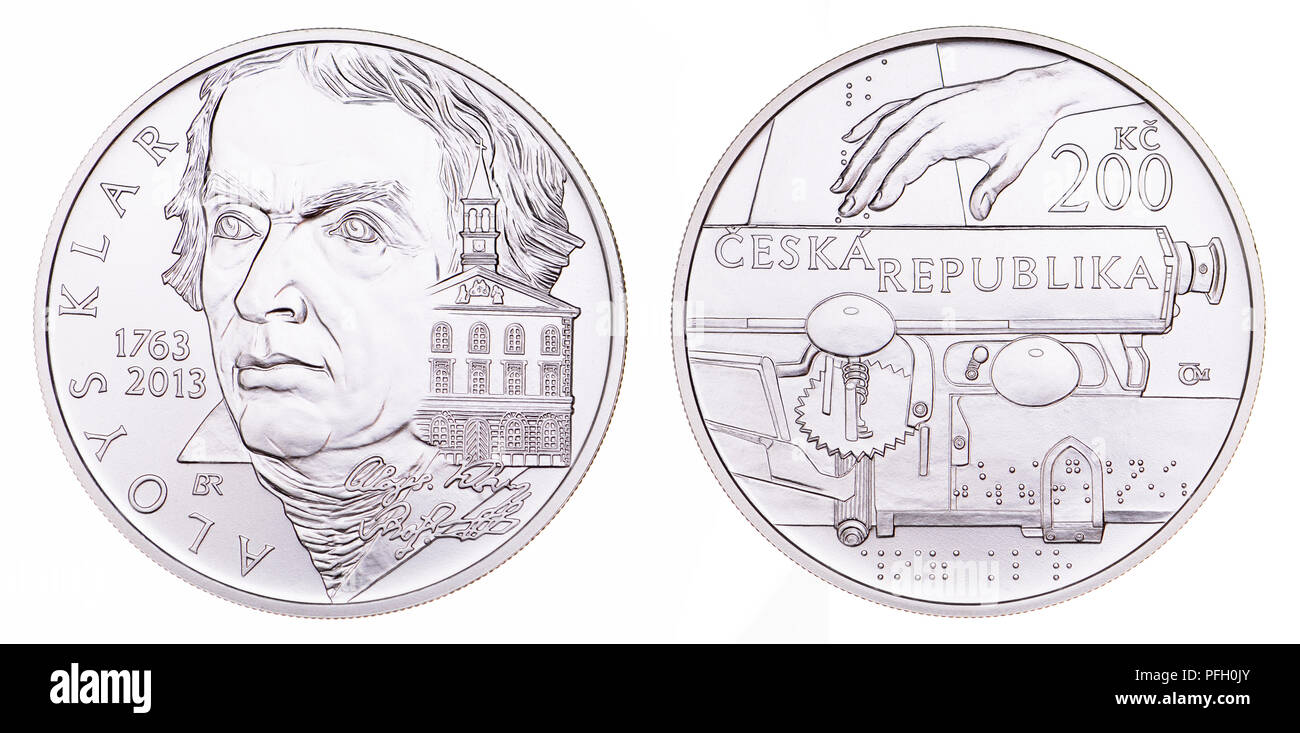 200Kc Silver commemorative coin (2013) from the Czech Republic : 250th Anniversary of Birth of Aloys Klar (1763-1833)  philologist, pedagogue and phil - Stock Image